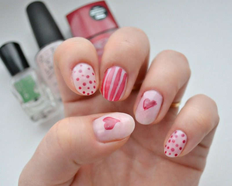 matte red and nude nail art