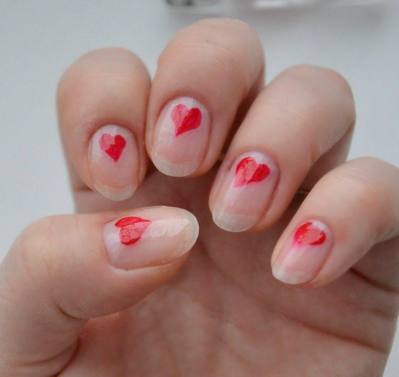 minimalist heart nail art