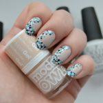 EV100   Blue Black White Dots Nail Art