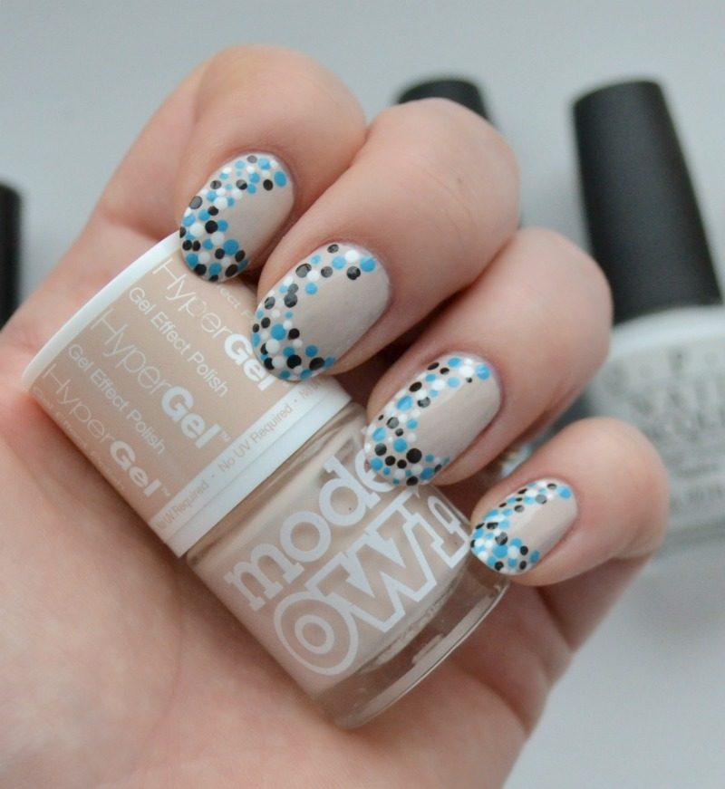 blue black white dots nail art