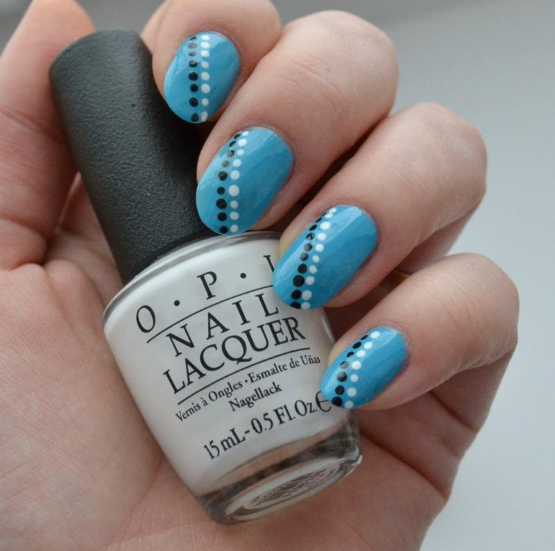 simple blue black white manicure