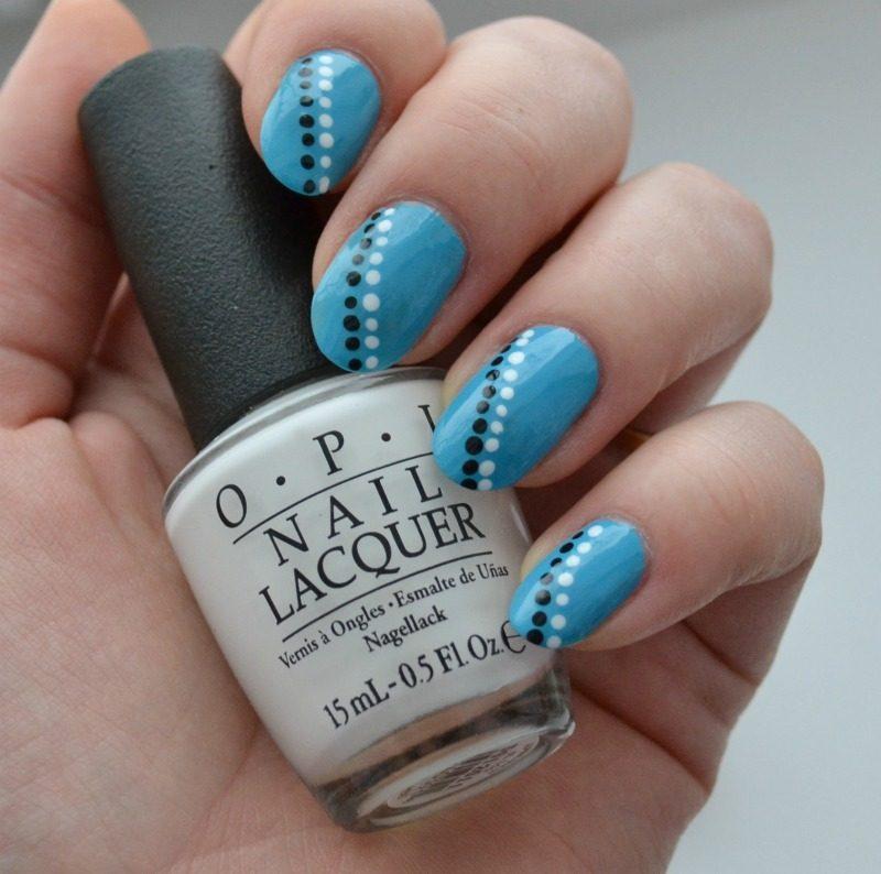 simple blue black white manicure