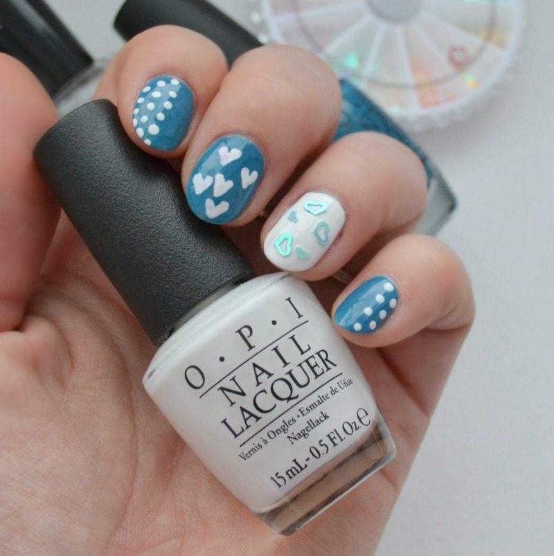 blue white Valentine's Day nail art