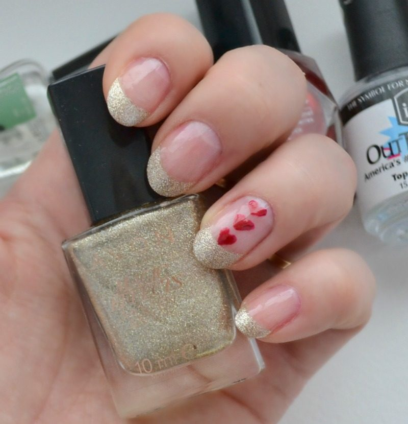 gold red French manicure Valentine's Day