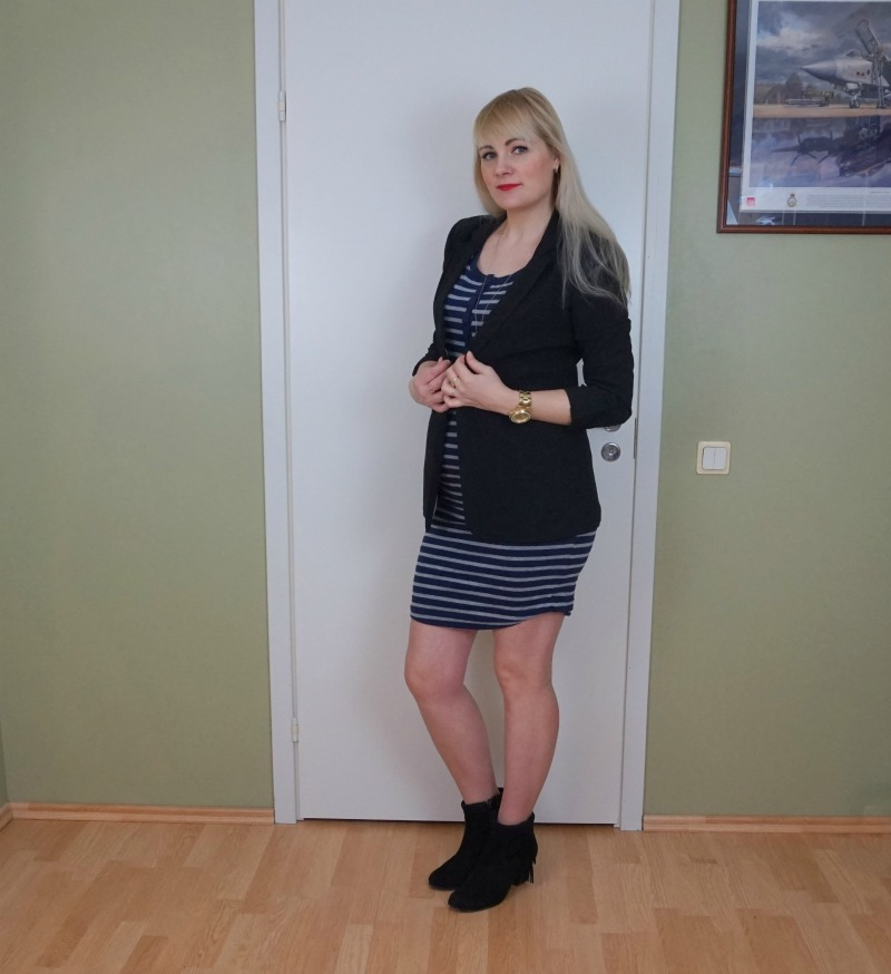 Striped dress and black blazer & weekly link up