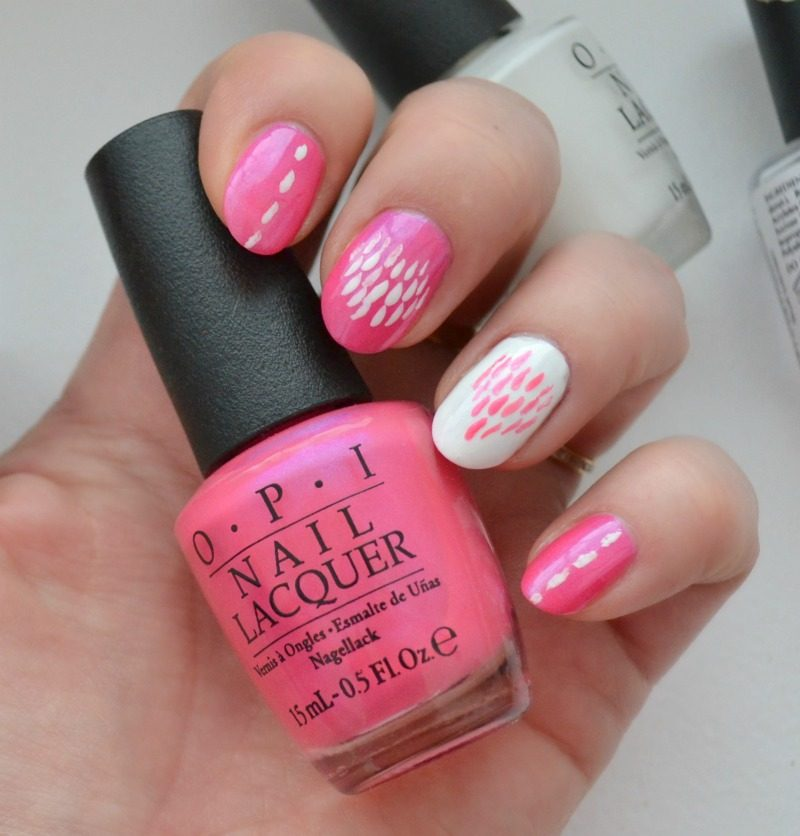 pink and white nails for valentines day