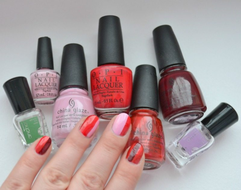 red pink striped nails