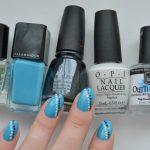 EV100   Simple Blue Black White Nails