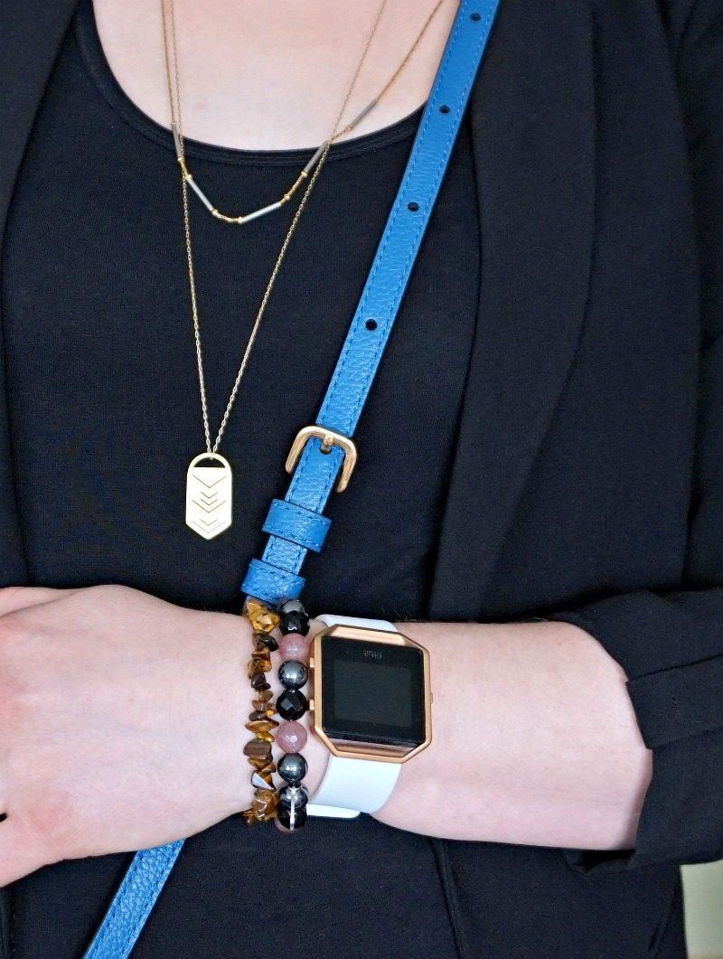 Fitbit Blaze smart fitness watch and semiprcious stone bracelets