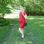 red Mamalicious lace dress