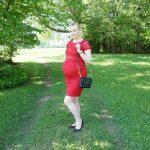 red Mamalicious lace dress