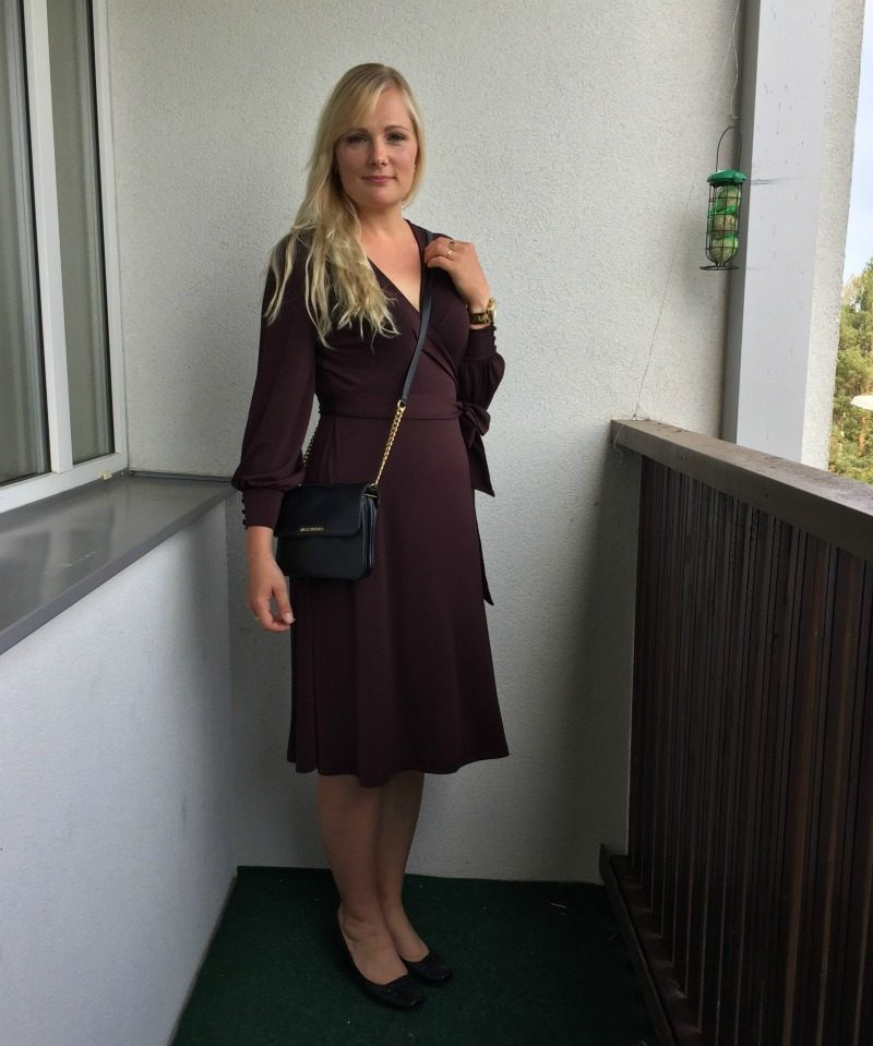 burgundy Crepe Wrap Dress