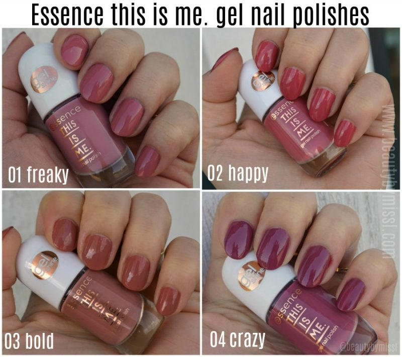 essence this is me. gel nail polish swatches 01 freaky, 02 happy, 03 bold, 04 crazy