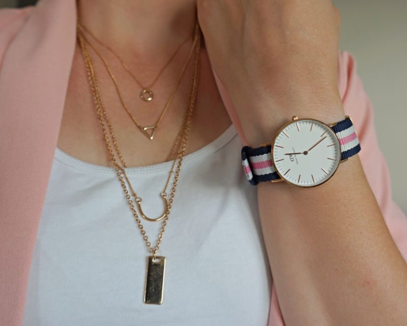 layered necklace and Daniel Wellington watch