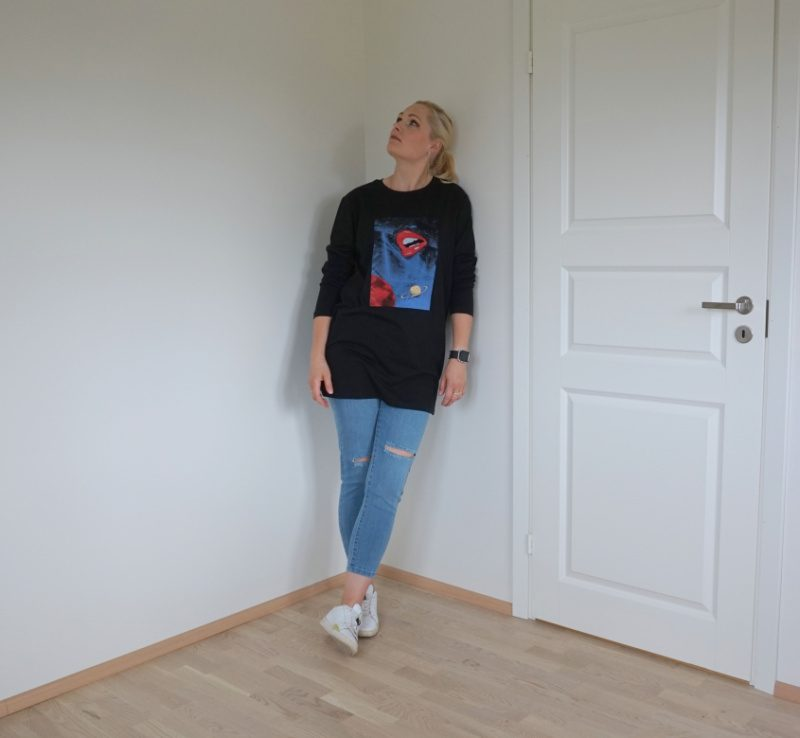 jeans and oversized t-shirt dress outfit