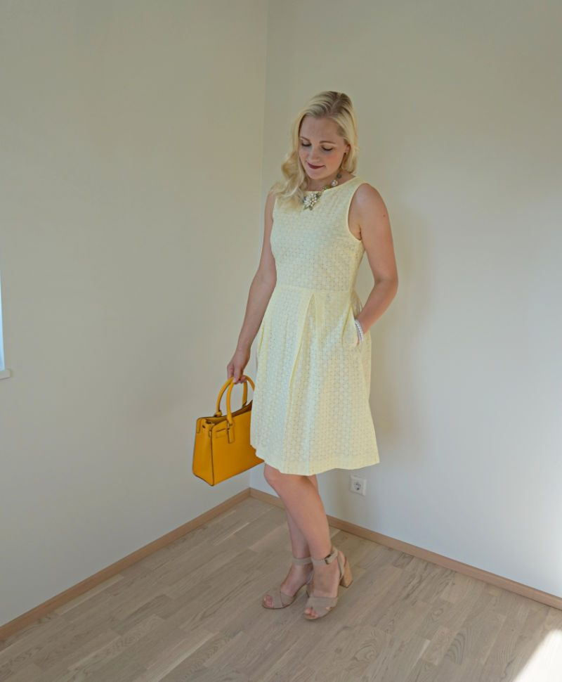 yellow hole-embroidered cotton dress