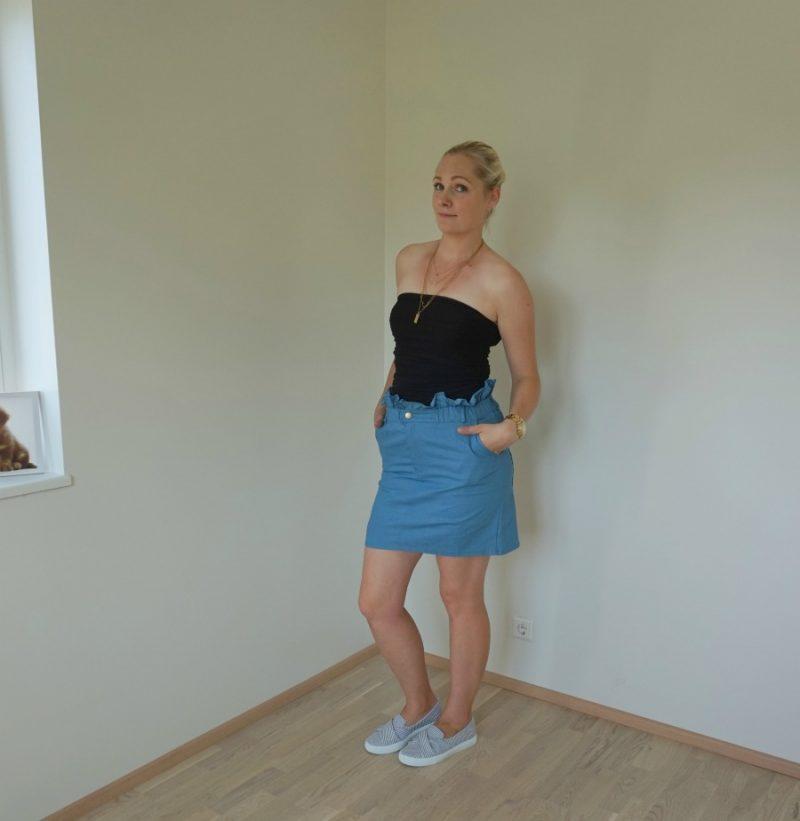 Dark Blue Denim Paperbag Skirt - Jennee