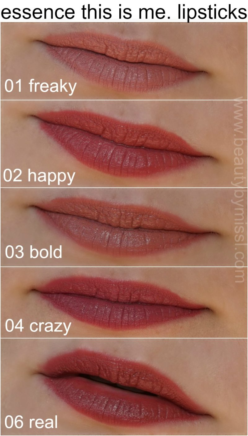 Essence cosmetics this is me. lipstick 01 freaky, 02 happy, 03 bold, 04 crazy, 06 real lip swatches