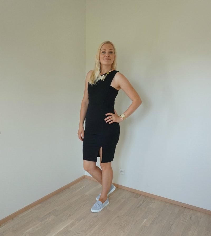 simple one shoulder midi dress and slip on trainers