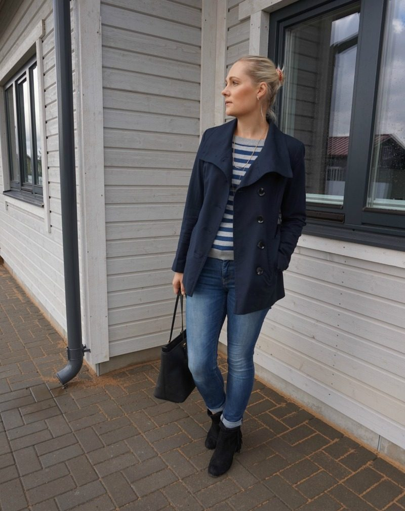 striped sweater, blue jeans and blue jacket outfit
