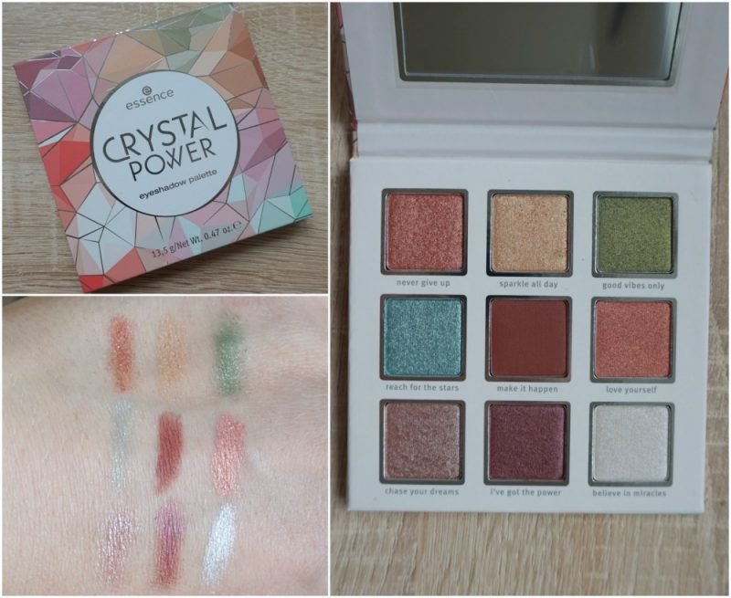 essence cosmetics crystal power eyeshadow palette swatches