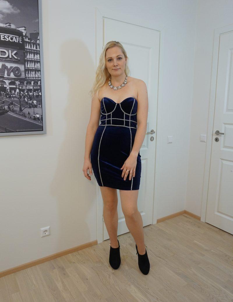 blue velvet diamante corset bodycon mini dress - Andre
