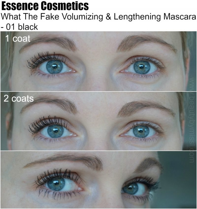 Essence Cosmetics What The Fake Volumizing & Lengthening Mascara 01 black on my lashes