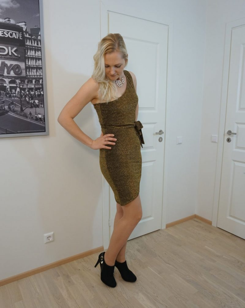 gold glitter one-shoulder belted bodycon mini dress