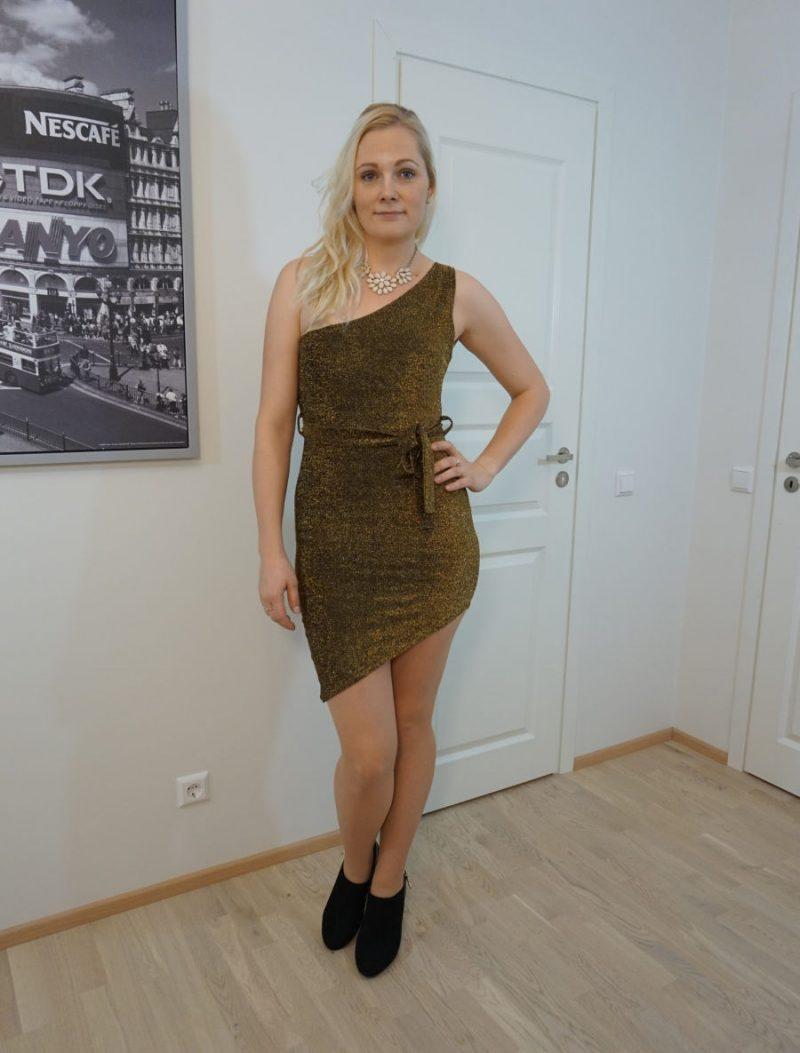 gold glitter one-shoulder belted bodycon mini dress - Anastasia