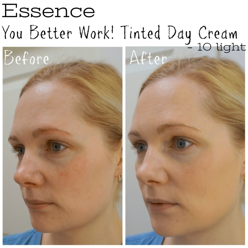 Essence You Better Work! Tinted Day Cream 10 light before after