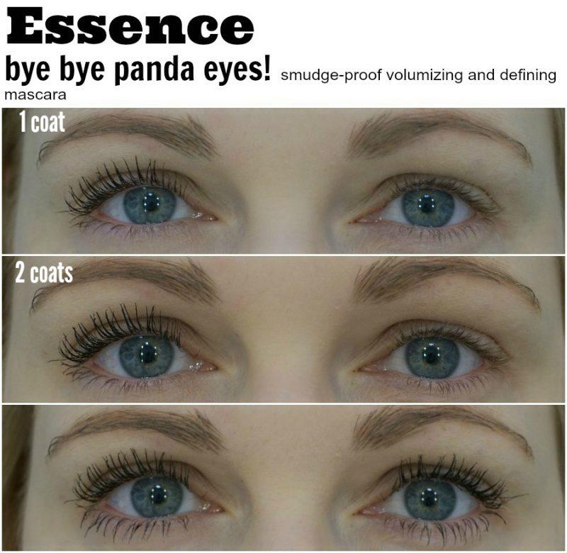 Essence bye bye panda eyes mascara before and after on lashes