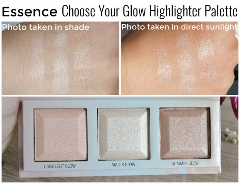 Essence Cosmetics Choose Your Glow Highlighter Palette swatches. Essence Choose Your Glow! särapuudripalett.