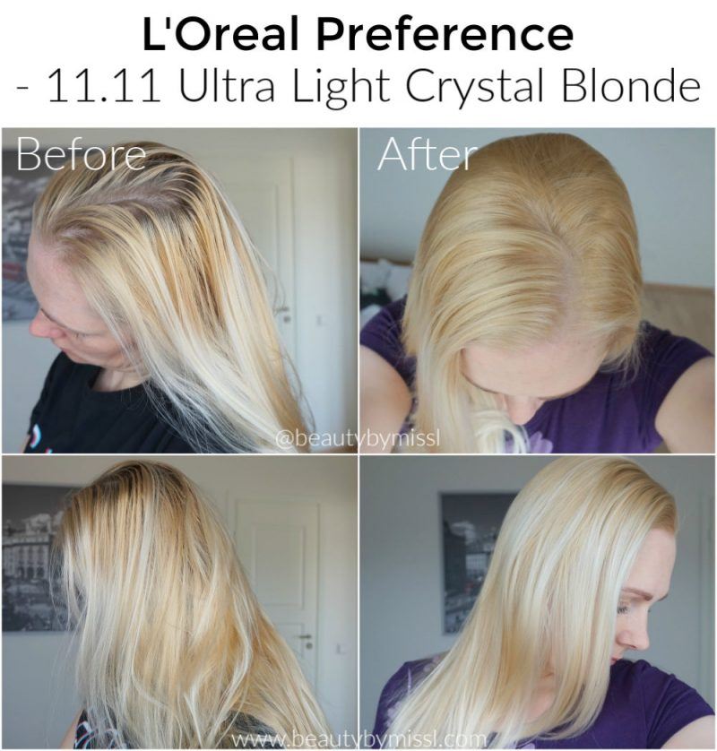 L'Oreal Preference 11.11 Ultra Light Crystal Blonde before and after