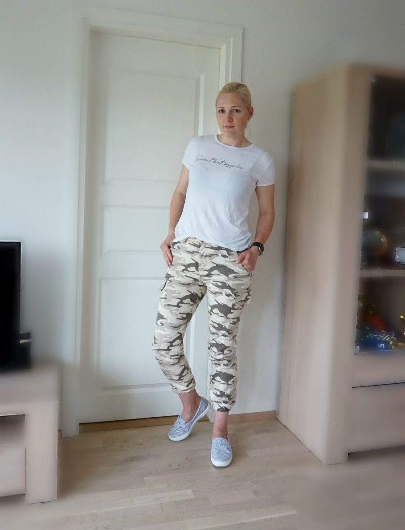 Brown Camo Print Elasticated Trousers from Femme Luxe