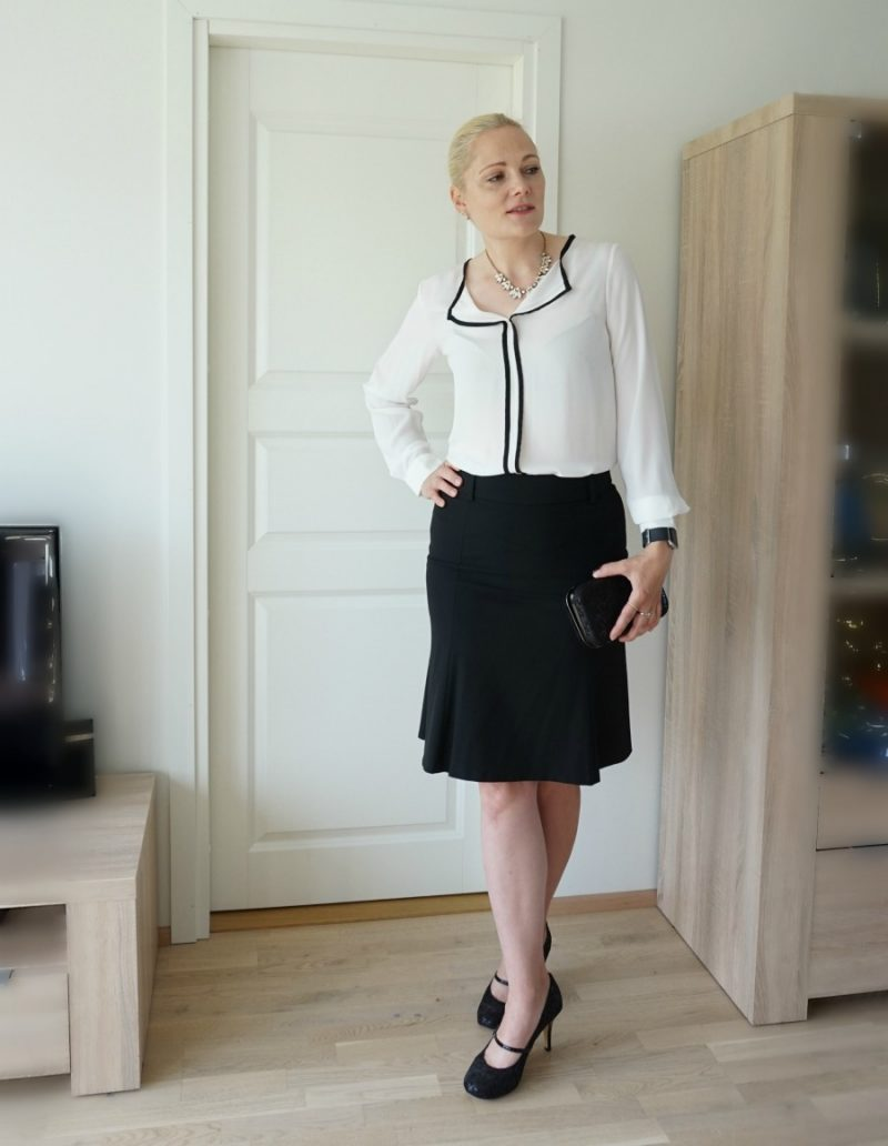 simple formal black and white outfit