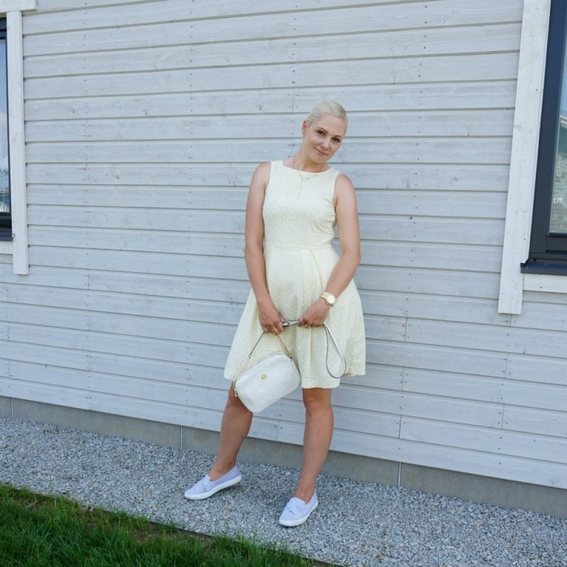 light yellow summer dress and blue white striped slip-on trainers