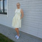 Yellow hole-embroidered dress & striped shoes & LINK UP