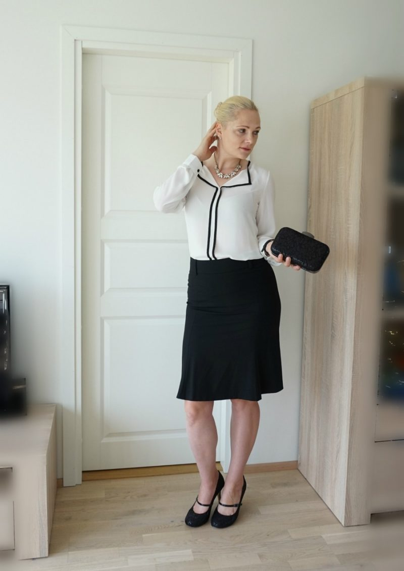 black white formal outfit