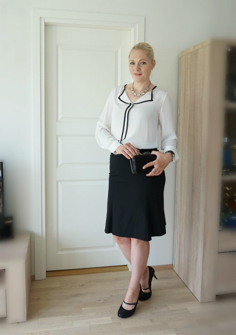 black skirt and white blouse