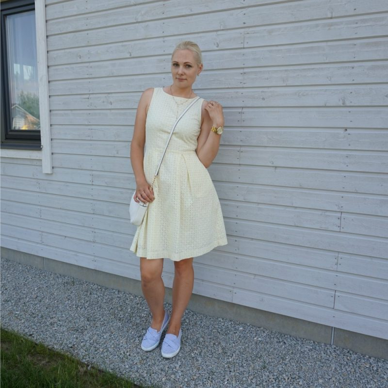 Holly & White yellow hole-embroidered dress from Lindex