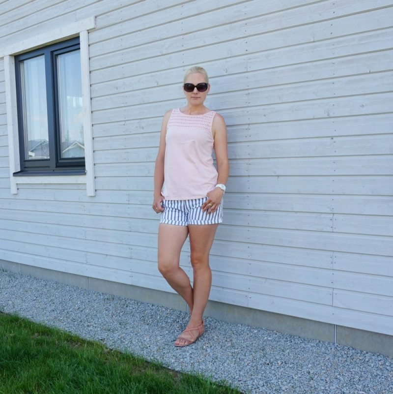 Esprit broderie top and DL1961 striped shorts