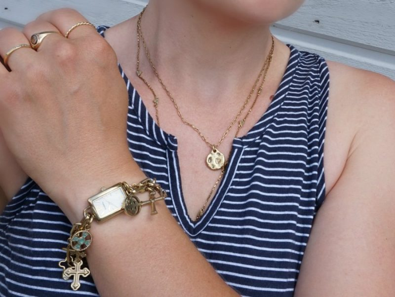 Fossil Cross Charm Watch and Madewell necklaces