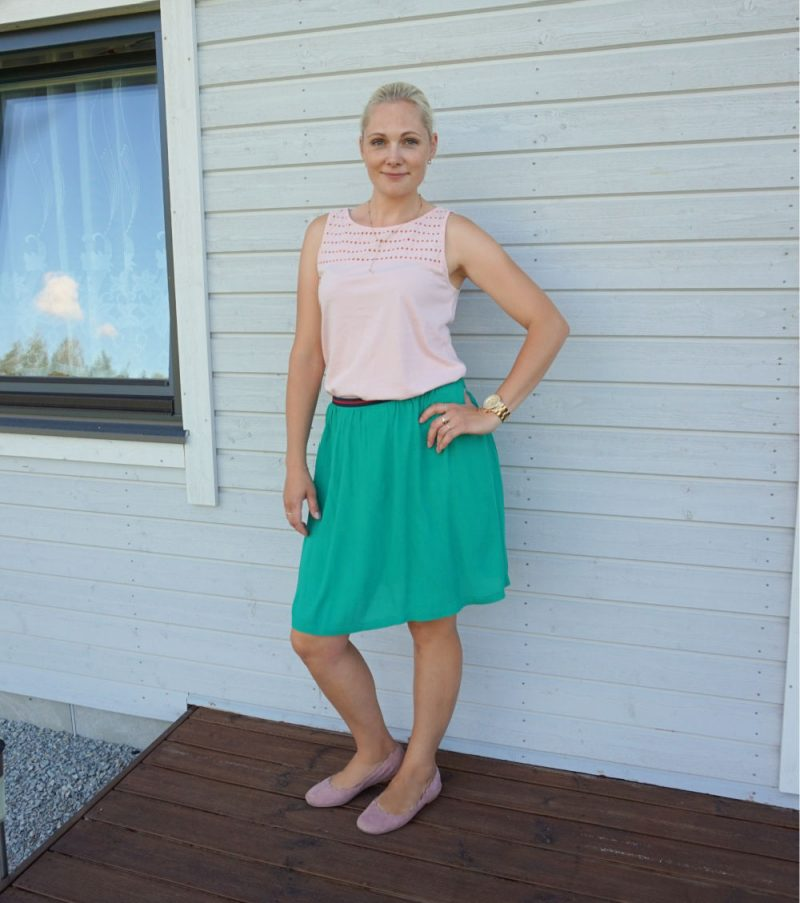 Esprit sleeveless top and green Lindex skirt