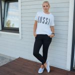 White t-shirt and black joggers from Femme Luxe & weekly link up