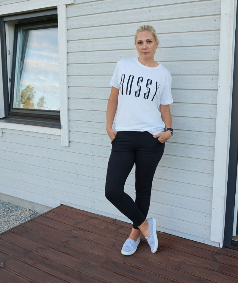 Black Cuffed Pocket Detail Joggers and White 'BO$$Y' Oversized T-Shirt