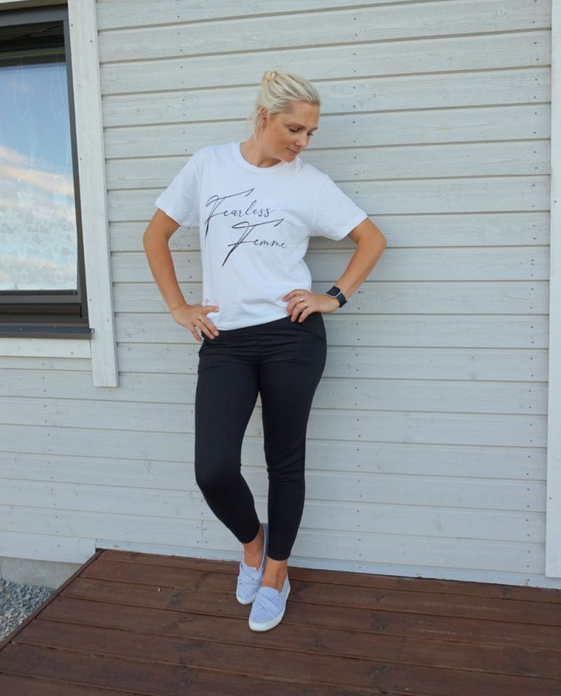 White 'Fearless Femme' Oversized T-Shirt and black joggers