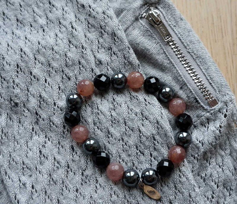 crochet sweater and semiprecious gemstone bracelet