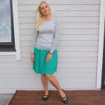 Green skirt & grey sweater outfit and weekly link up #188