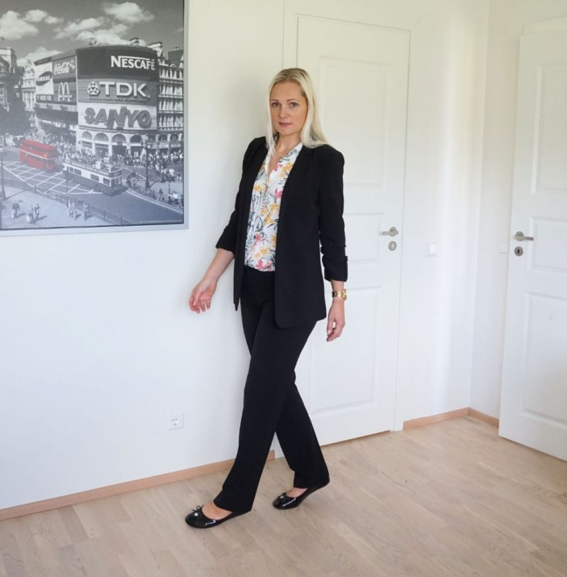 Reserved blazer Mosaic trousers H&M blouse