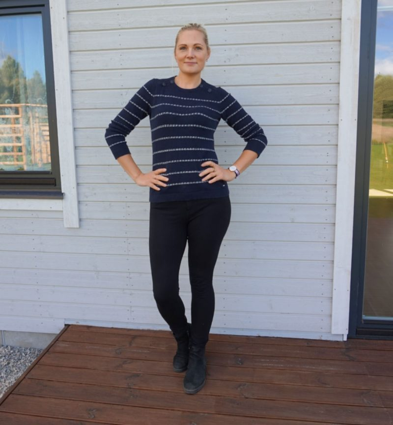 striped hilfiger jumper and black ponte pants